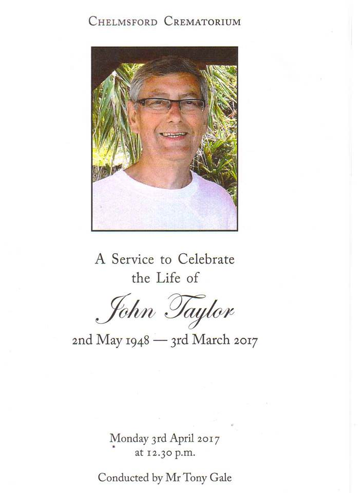 The front cover of John Taylors' funeral service programme, showing an image of John