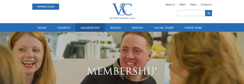 Splash screen of the Victory Services Club London Membership webpage