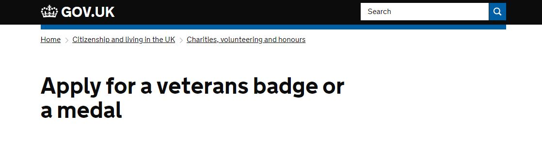 External link to the Government website relative to applying for replacement medals or veteran badges